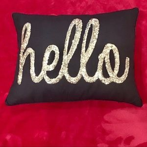 """Hello"" Sequin Pillow"